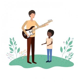 Hombre con hijo y personaje de guitarra eléctrica.