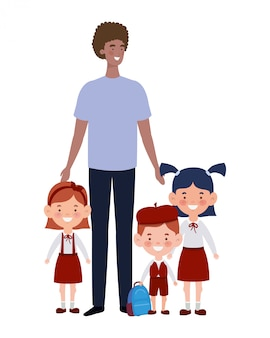 Hombre con hijos de regreso a la escuela