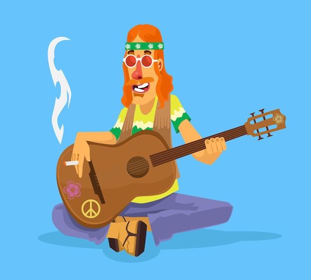 Hombre hippie toca ilustración de dibujos animados de guitarra