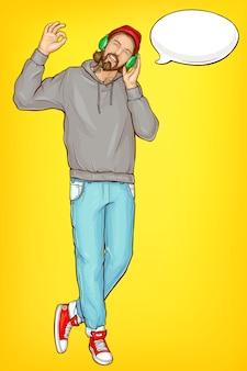 Hombre hipster en retrato de dibujos animados de auriculares