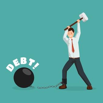Hombre de la historieta que rompe cadenas financieras con el martillo de trineo. feliz deudor, empresario pagando deudas