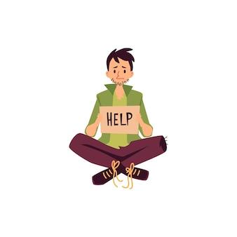 Hombre sin hogar sentado con las piernas cruzadas y sosteniendo ayuda pidiendo signo estilo de dibujos animados, aislado sobre fondo blanco. mendigo hombre pobre con letrero de cartón