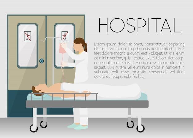 Hombre en el hospital en la ilustración de la bandera de goteo. persona joven de dibujos animados acostado en la cama con infusor.