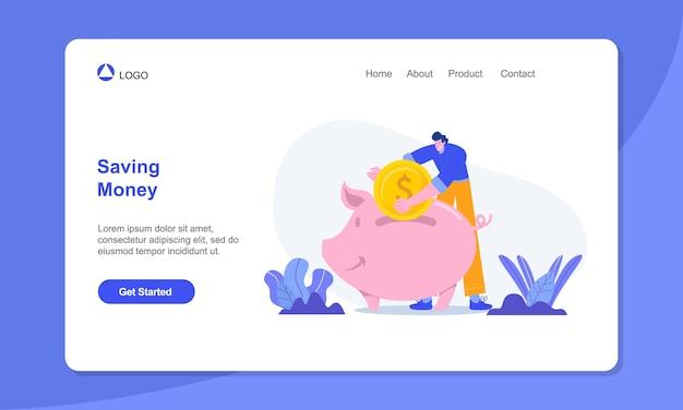 Hombre de ilustración de concepto de ahorro de dinero ahorrando dinero en la página de destino adecuada de la hucha