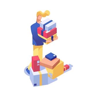 Hombre en la ilustración isométrica de compras