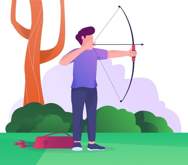 Hombre de ilustración plana de competencia de tiro con arco
