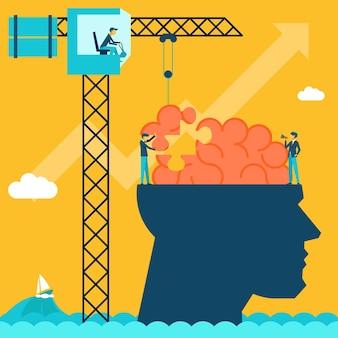Hombre con ilustración de rompecabezas de cerebro