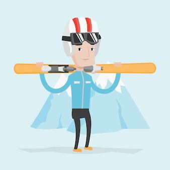 Hombre con ilustración de vector de esquís.