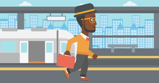Hombre en la ilustración de vector de la estación de tren.