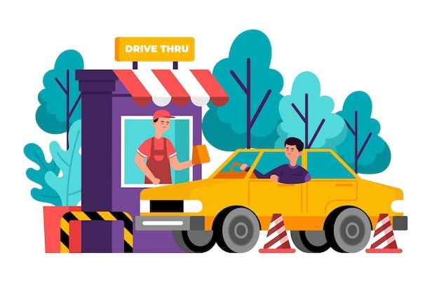Hombre ilustrado yendo a una ventana de drive thru para conseguir comida