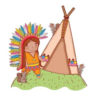 Hombre indígena con ardillas y tienda de campaña.