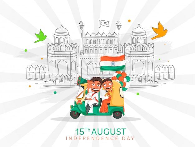 Hombre indio conduciendo auto con mujer haciendo namaste, bandera india, globos y arte lineal monumento del fuerte rojo en celebración de fondo de rayos blancos.