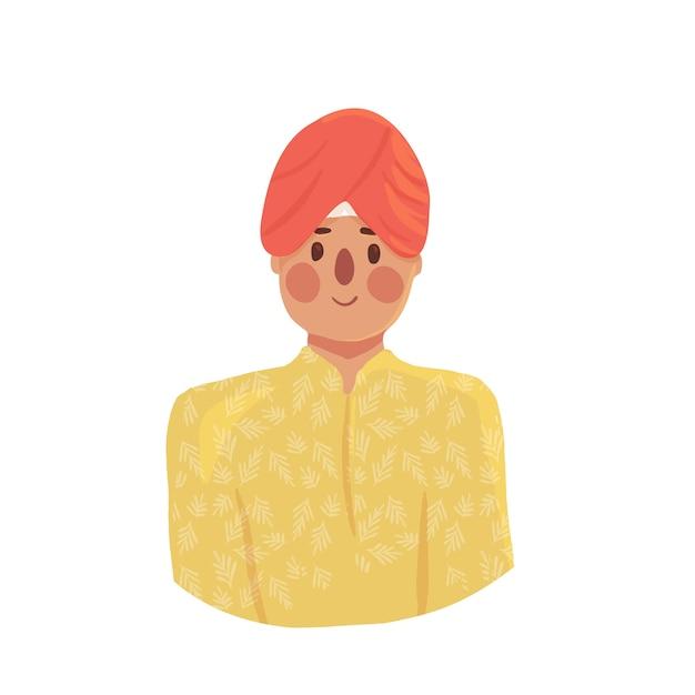 Hombre indio de dibujos animados en turbante