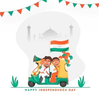 Hombre indio que conduce el automóvil y la mujer que hace namaste, globos, bandera de la india en el fondo de la silueta del monumento de taj mahal para el feliz día de la independencia.