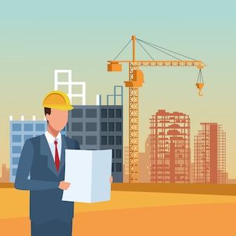 Hombre ingeniero parado bajo un paisaje de construcción, diseño colorido