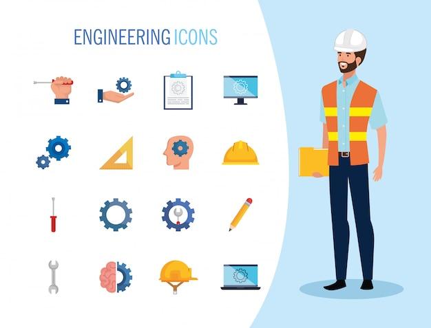 Hombre ingeniero con set iconos trabajando