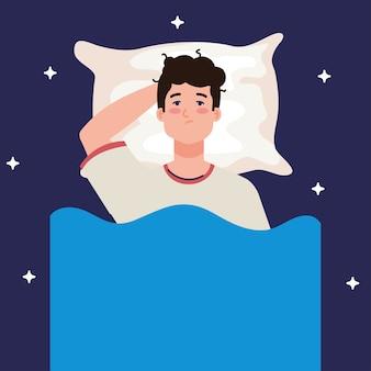 Hombre de insomnio en la cama con diseño de almohada, sueño y tema nocturno