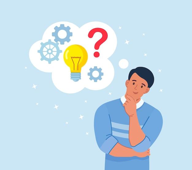 Hombre inteligente pensando o resolviendo problemas. chico pensativo con burbujas de pensamiento, signos de interrogación, bombilla. el hombre es confuso