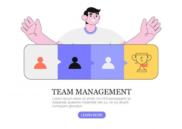 El hombre introduce una estrategia efectiva de trabajo en equipo o coordinación, trabajo en equipo, liderazgo.