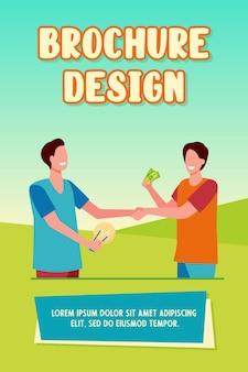Hombre invirtiendo dinero en la puesta en marcha. socios, bombilla, efectivo, apretón de manos ilustración vectorial plana