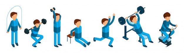 Hombre isométrico haciendo ejercicios deportivos. personajes masculinos de fitness y gimnasio sobre fondo blanco.