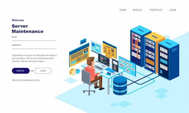 Hombre isométrico personaje ingeniero mantenimiento computadora servidor en sala de centro de datos. ilustración creativa para la plantilla de página principal del servidor web