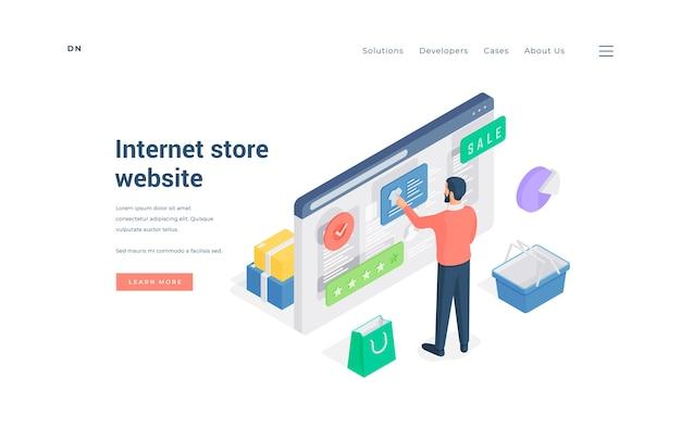 Hombre isométrico de pie cerca de la cesta y la bolsa de papel y haciendo compras en la tienda en línea con buena calificación en el banner del sitio web de la tienda de internet