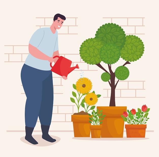 Hombre de jardinería con diseño de plantas y regadera, plantación de jardines y naturaleza