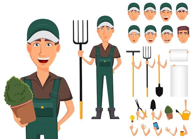 Hombre jardinero, personaje de caricatura en uniforme.