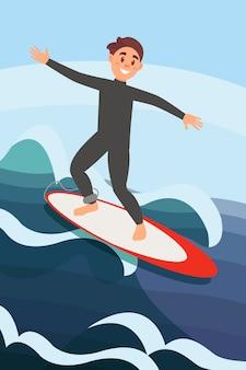 Hombre joven alegre que practica surf en olas oceánicas. deporte acuático extremo. recreación activa de verano. colorida ilustración plana