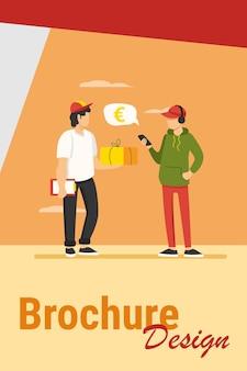 Hombre joven con aplicación de teléfono inteligente para pagar el pedido de entrega. mensajero dando paquete a la ilustración de vector plano del cliente. pago móvil, concepto de servicio