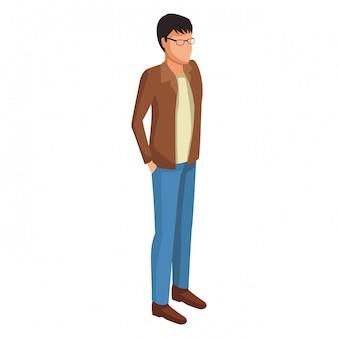 Hombre joven avatar isométrico
