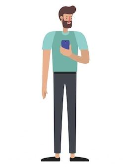 Hombre joven con barba y teléfono inteligente.