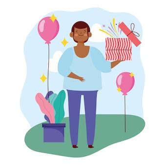 Hombre joven con caja de regalo abierta y globos fiesta ilustración vectorial