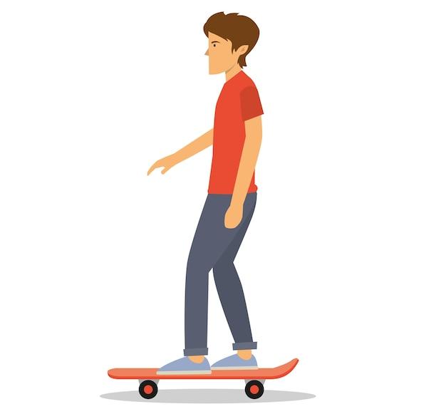 Un hombre joven con una camisa roja a bordo de un patín