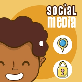 Hombre joven con caricaturas de símbolos de medios sociales