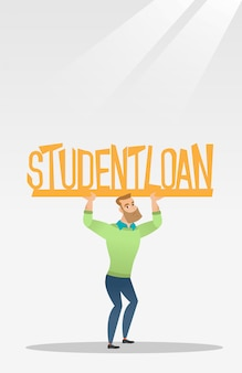 Hombre joven con cartel de préstamo estudiantil.