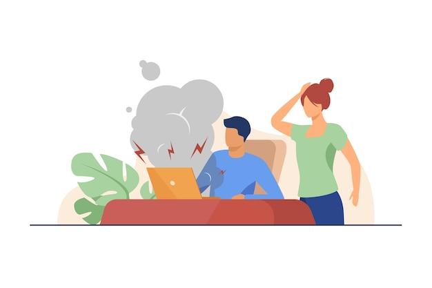 Hombre joven con computadora rota y mujer sorprendida.