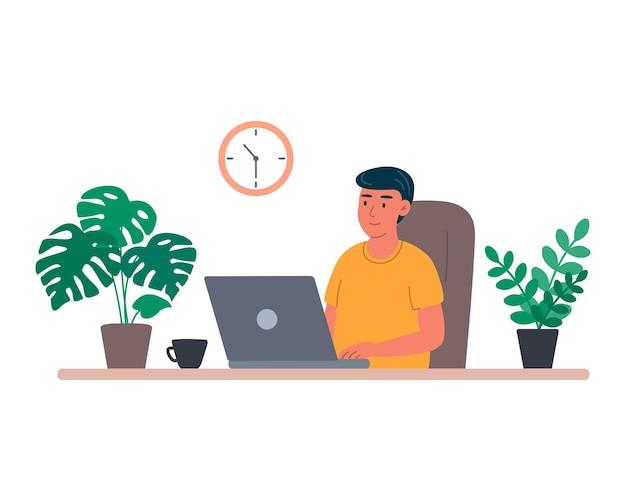 Hombre joven en la comunicación de la formación de la oficina en casa del ordenador portátil y ordenar productos en línea