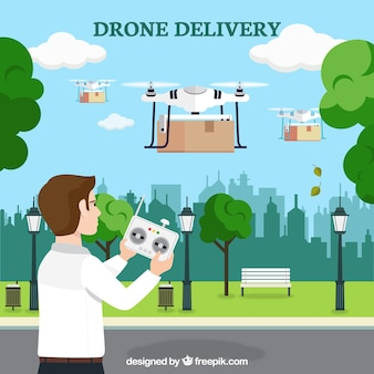 Hombre joven controlando varios drones