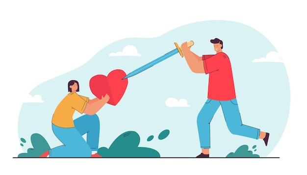 Hombre joven corazón que sostiene a la chica. ilustración vectorial plana
