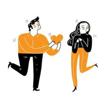Un hombre joven le da un gran corazón a una mujer joven con amor, concepto de amor de pareja, estilo de dibujos animados de ilustración vectorial garabatos