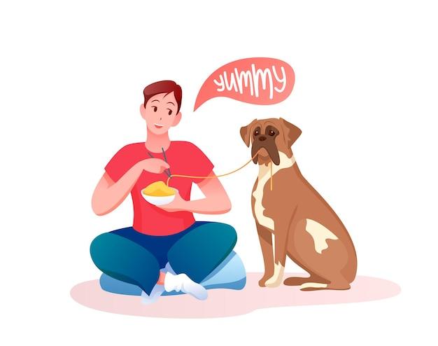 Hombre joven de dibujos animados dando comida a su propio perro, personaje de dueño masculino alimentando mascota perrito