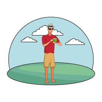Hombre joven en dibujos animados de horario de verano
