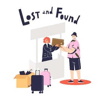 Hombre joven de dibujos animados que regresa la billetera perdida al servicio de objetos perdidos y encontrados