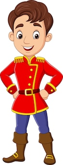 Hombre joven de dibujos animados con traje de príncipe