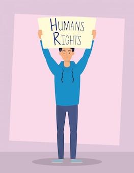 Hombre joven con diseño de ilustración de vector de personaje de etiqueta de derechos humanos
