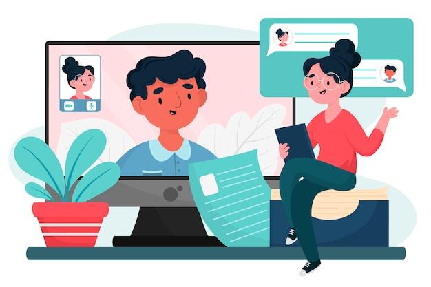 Hombre joven con una entrevista en línea