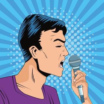 Hombre joven con estilo de arte pop de personaje de micrófono