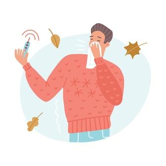 Hombre joven estornudando o tosiendo en pañuelo con termómetro de alta temperatura. concepto de fiebre, gripe, covid-19, protección antivirus, prevención, infección, virus pandémico. ilustración de vector plano.